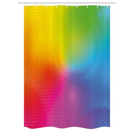 Iridescent Set - Rainbow Stall Shower Curtain, Vibrant Neon Colors Circles Rounds Dots Radiant Composition Iridescent Effect Print, Fabric Bathroom Set with Hooks, 54W X 78L Inches, Multicolor, by Ambesonne