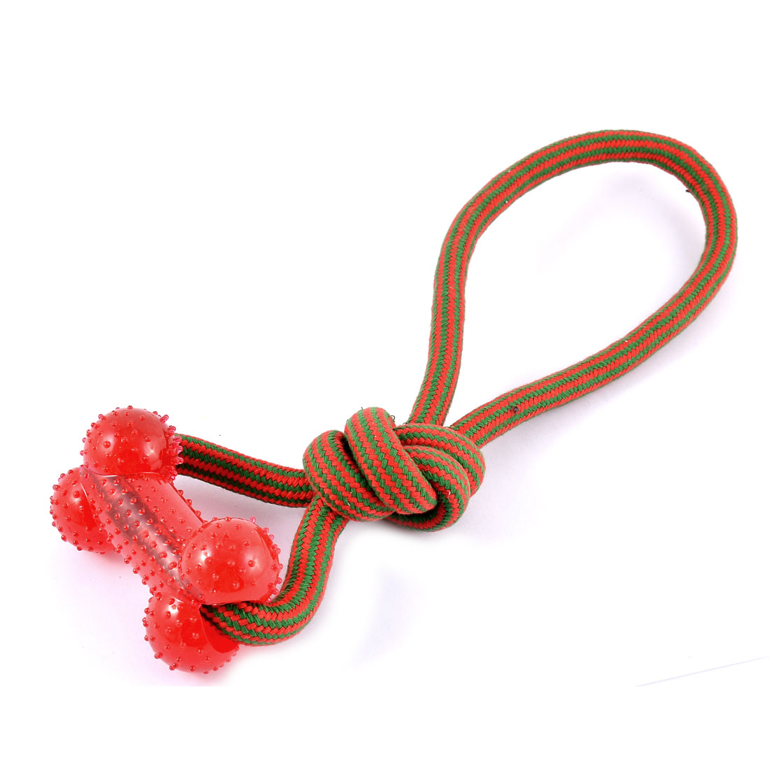 Unique Bargains Pet Puppy Dog Teeth Cleanning Chew Bone Knotted Braided Rope Red Green