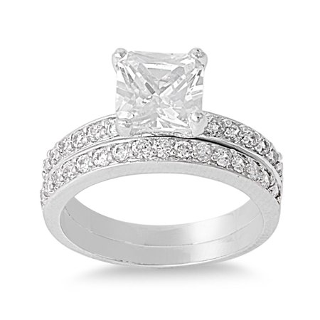 Princess Cut Center with Round Stones Cubic Zirconia Wedding Set Ring Sterling Silver 925