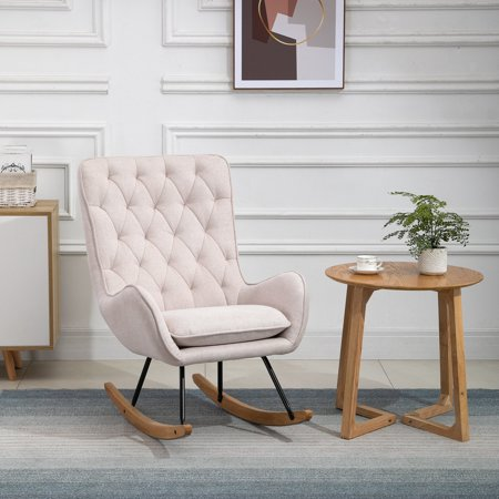 moobody Traditional Look Rocking Armchair Single Sofa with Foam Padding Home Office