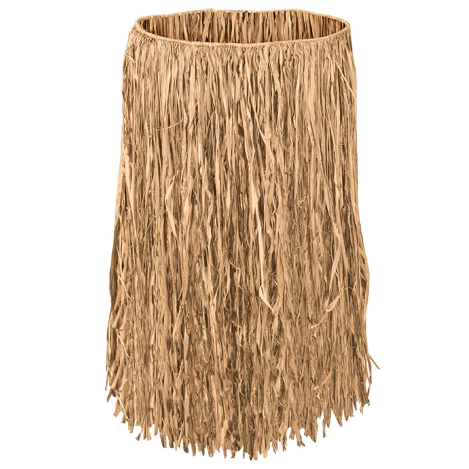 Club Pack of 12 Tropical Tan Extra Large Adult Sized Raffia Hula Skirts 38""