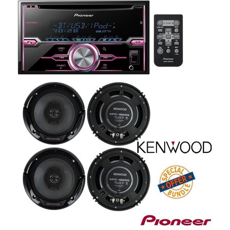 Pioneer FH-X720BT 2-DIN CD Receiver with Mixtrax and Bluetooth (Discontinued by Manufacturer) W/ 4) New Kenwood KFC-1665S 6.5 Inch 600 Watt 2-Way Car Audio Door Coaxial