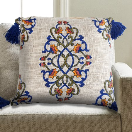 - LR Home Lattice Floral Medallion Designed Corners Royal Blue 18 inch Cotton Decorative Throw Pillow