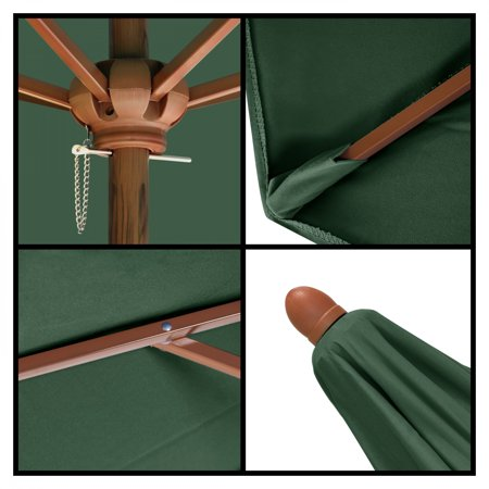 Astella 9' Shade Essential Market Steel Wood-Grain Push-Lift Patio Umbrella in polyester hunter green