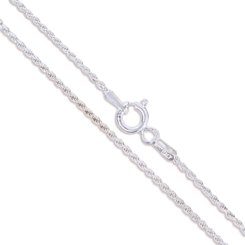 925 Sterling Silver 1.0 mm Rope Chain Necklace For Woman Teens Teen Girls .925 Sterling Silver