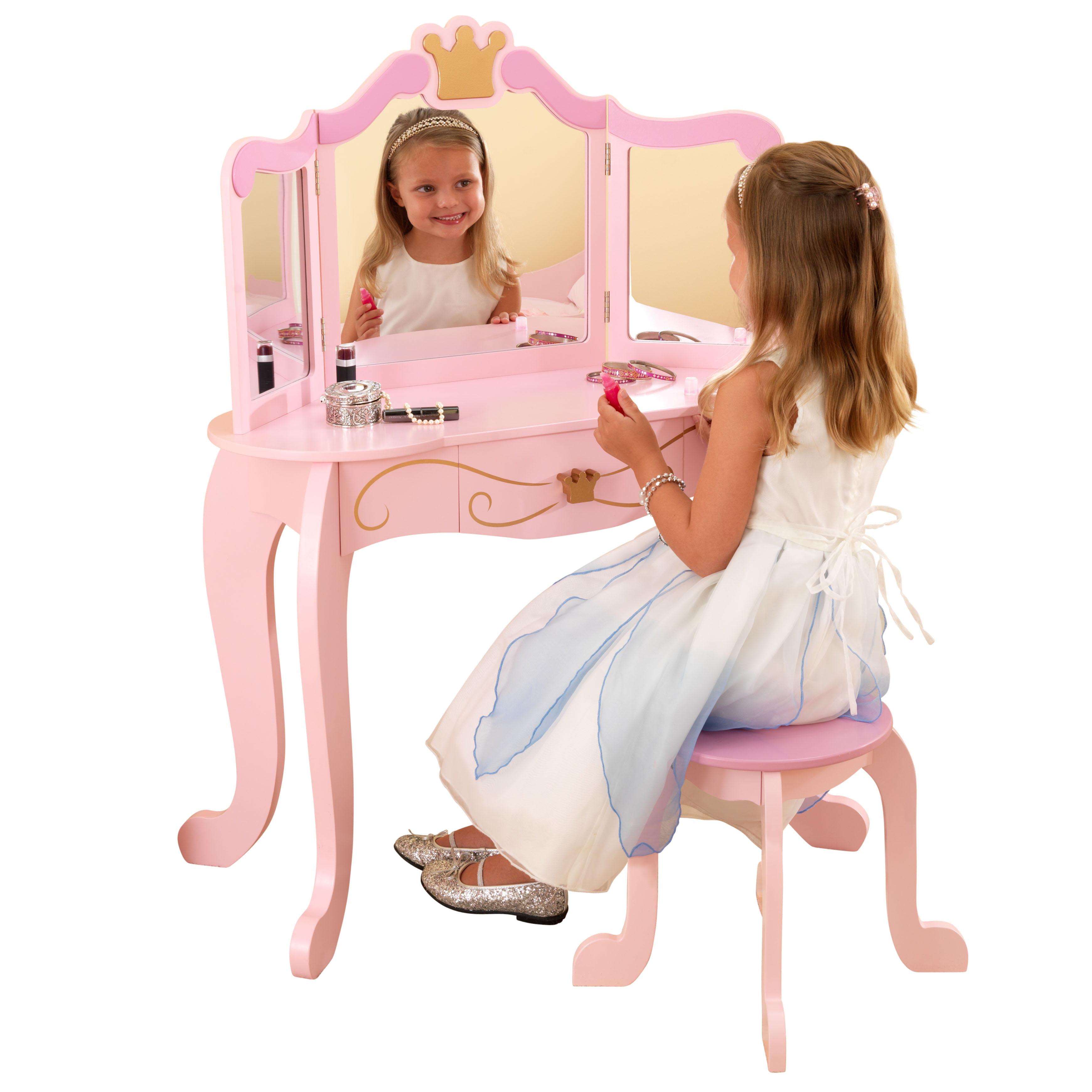Kidkraft Wooden Princess Vanity Stool Set With Mirror Children S