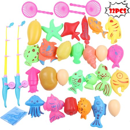 Iuhan 32pcs Bath Toys For Kids Fishing Magnetic Toys Floating Fishing (Iron Man Magnetic Floating Toy For Sale)
