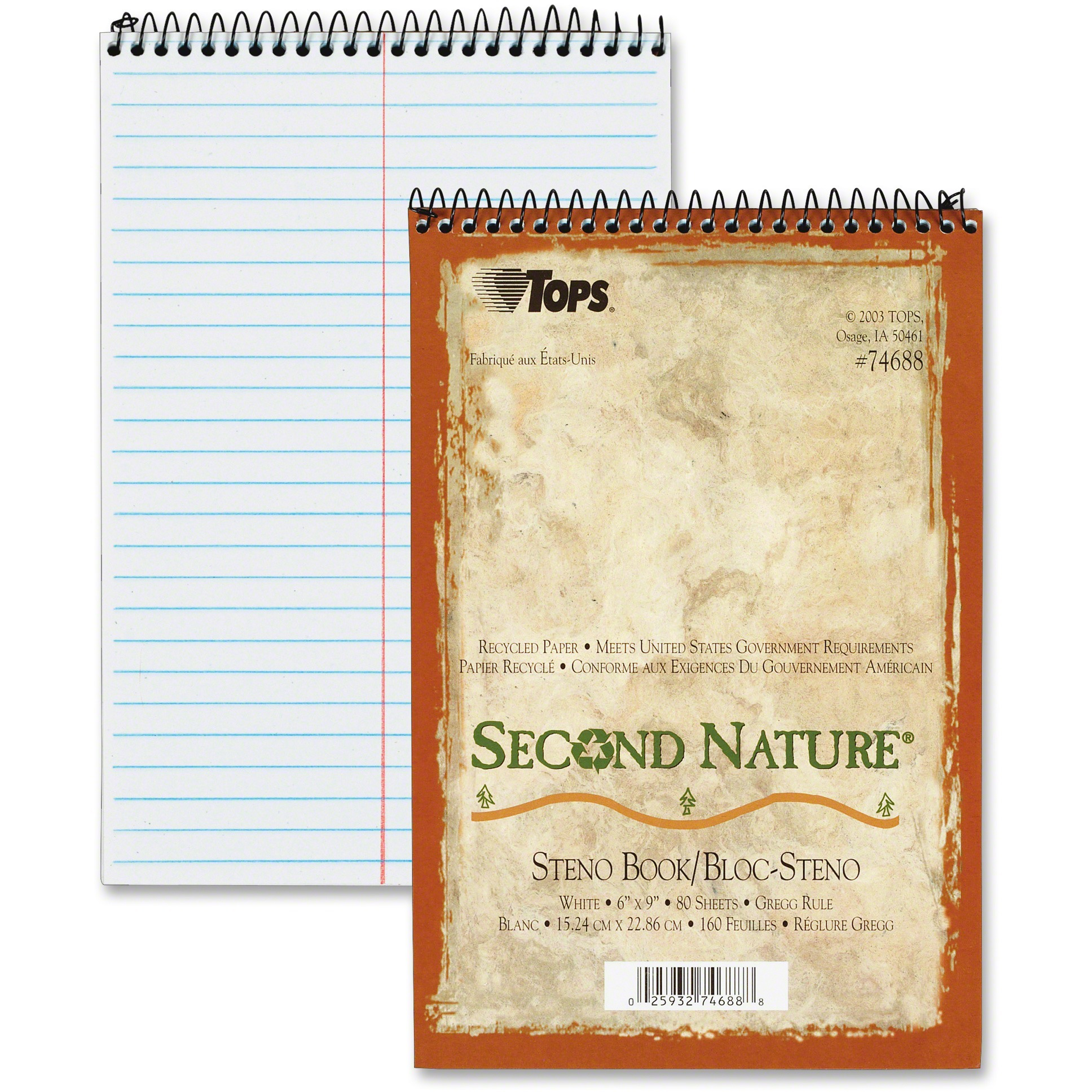 TOPS, TOP74688, Second Nature Spiral Reporter/Steno Notebook, 1 Each