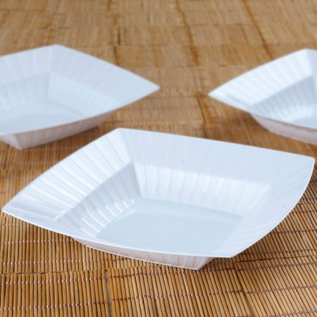 10 pcs 32 oz Square Striped Plastic Bowls -  Party Tableware