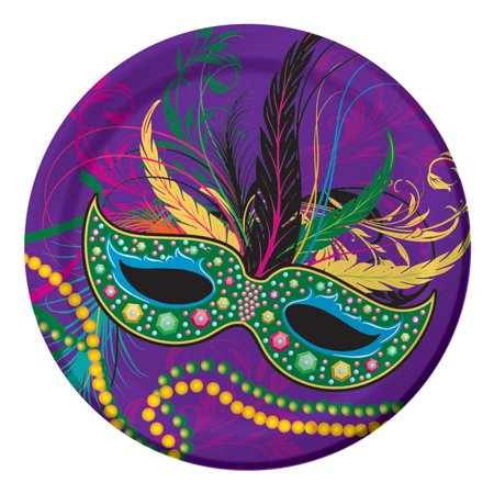 Club Pack of 96 Masquerade Mask and Beads Luncheon Party Plates - Easy Paper Plate Halloween Masks