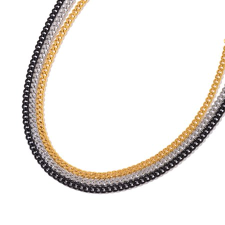Ion Plated Black  Yellow Gold And Stainless Steel Set Of 3 Curb Necklace 24 In