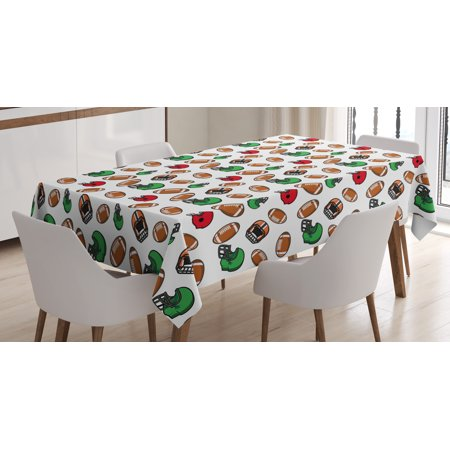 American Football Tablecloth, Cartoon Style Rugby Helmet and Balls American Culture Game Touchdown, Rectangular Table Cover for Dining Room Kitchen, 60 X 90 Inches, Multicolor, by Ambesonne (Football Tablecloth)