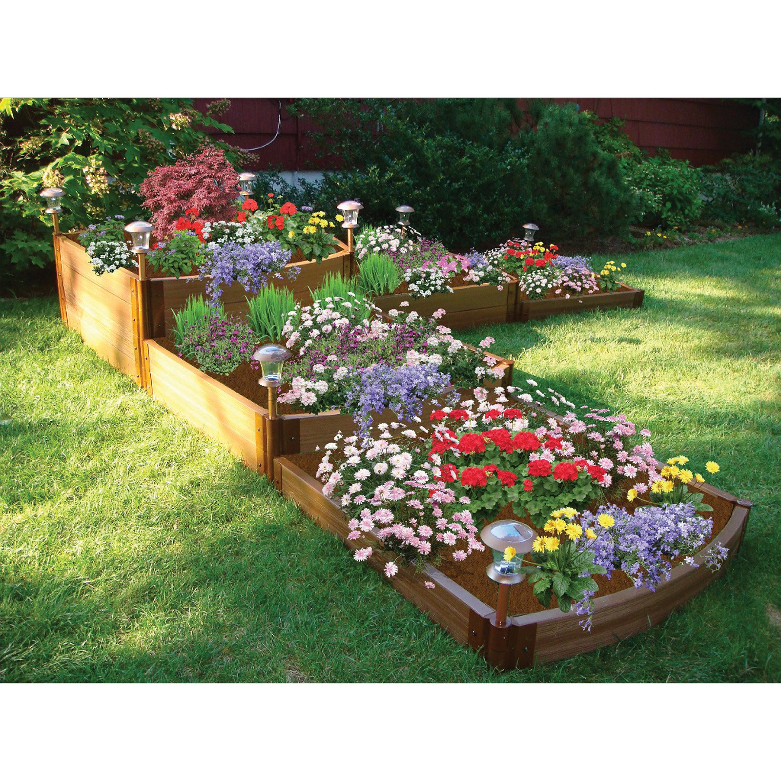 Frame It All 1-inch Series Composite Split Waterfall Raised Garden Bed Kit - 144in. x 144in. x 22in.