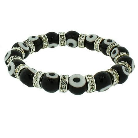 Fashion Alloy Black White CZ Beaded Stretch Cord Evil Eye Bracelet