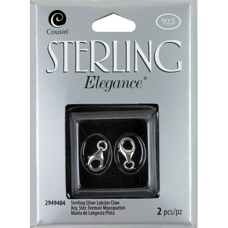 Cousin Sterling Elegance Genuine 925 Sterling Silver Beads & Findings, 7mm x 13mm Lobster Clasp, 2/pkg Beads Finding 2 Hole