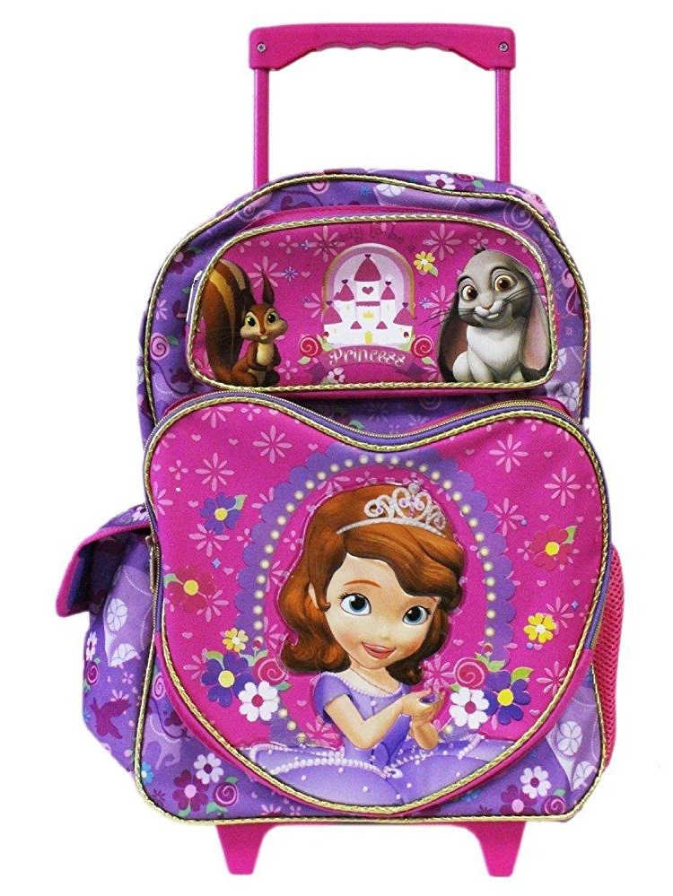 Full Size Sofia the First and Castle Rolling Backpack Luggag