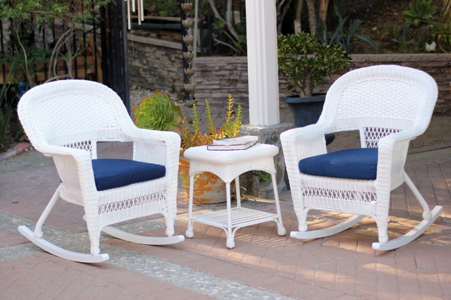 3-Piece Ariel White Resin Wicker Patio Rocker Chairs and Table Furniture Set Blue Cushions by CC Outdoor Living