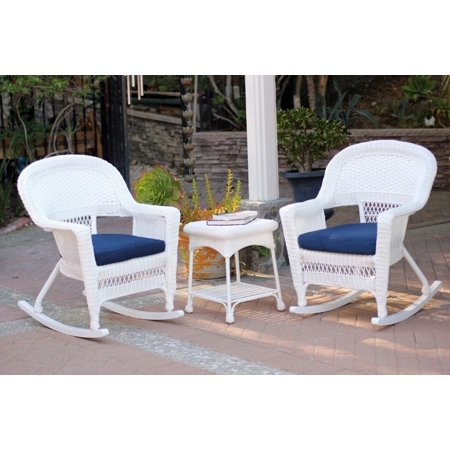 3 Piece Ariel White Resin Wicker Patio Rocker Chairs And Table Furniture Set Blue Cushions