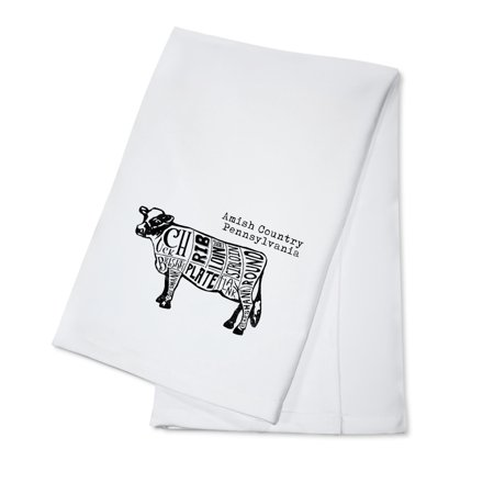Amish Country, Pennsylvania - Butchers Block Meat Cuts - Black Cow on White - Lantern Press Artwork (100% Cotton Kitchen