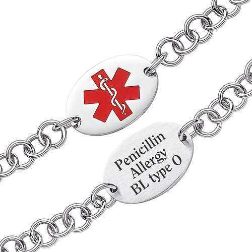 Personalized Stainless Steel Oval Medical ID Engraved Bracelet, 7.5""