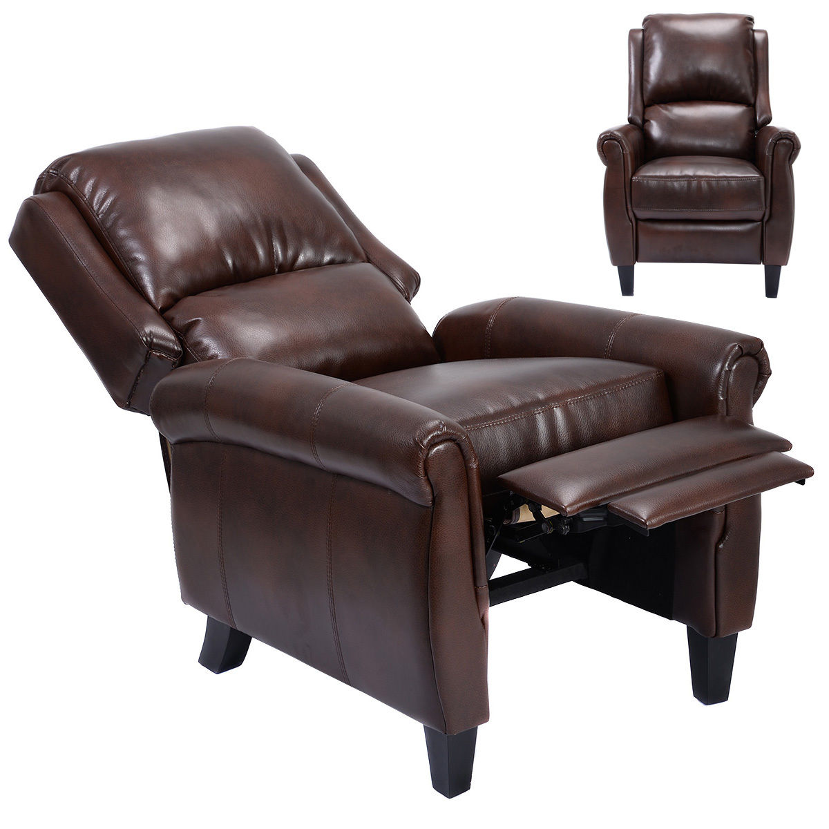 Costway Leather Recliner Accent Chair Push Back Living Room Home Furniture w/ Leg Rests