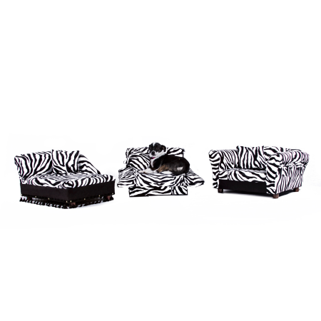 Keet 3 pcs Pet Set; Sofa, Chaise and Bed in Zebra