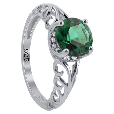 Gem Avenue 925 Sterling Silver Emerald Cubic Zirconia Swirl Design