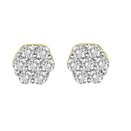 AV DIAMONDS VAD LLC 0.33 cttw Round Diamond Cluster Stud Flower Ladies  Earrings 14K Yellow Gold ()