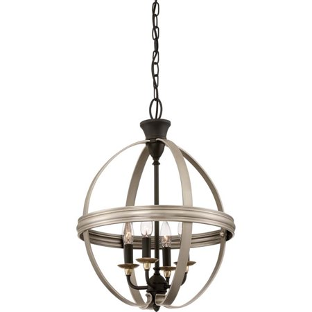 Quoizel Afton 4 Light Cage Chandelier in Antique Nickel