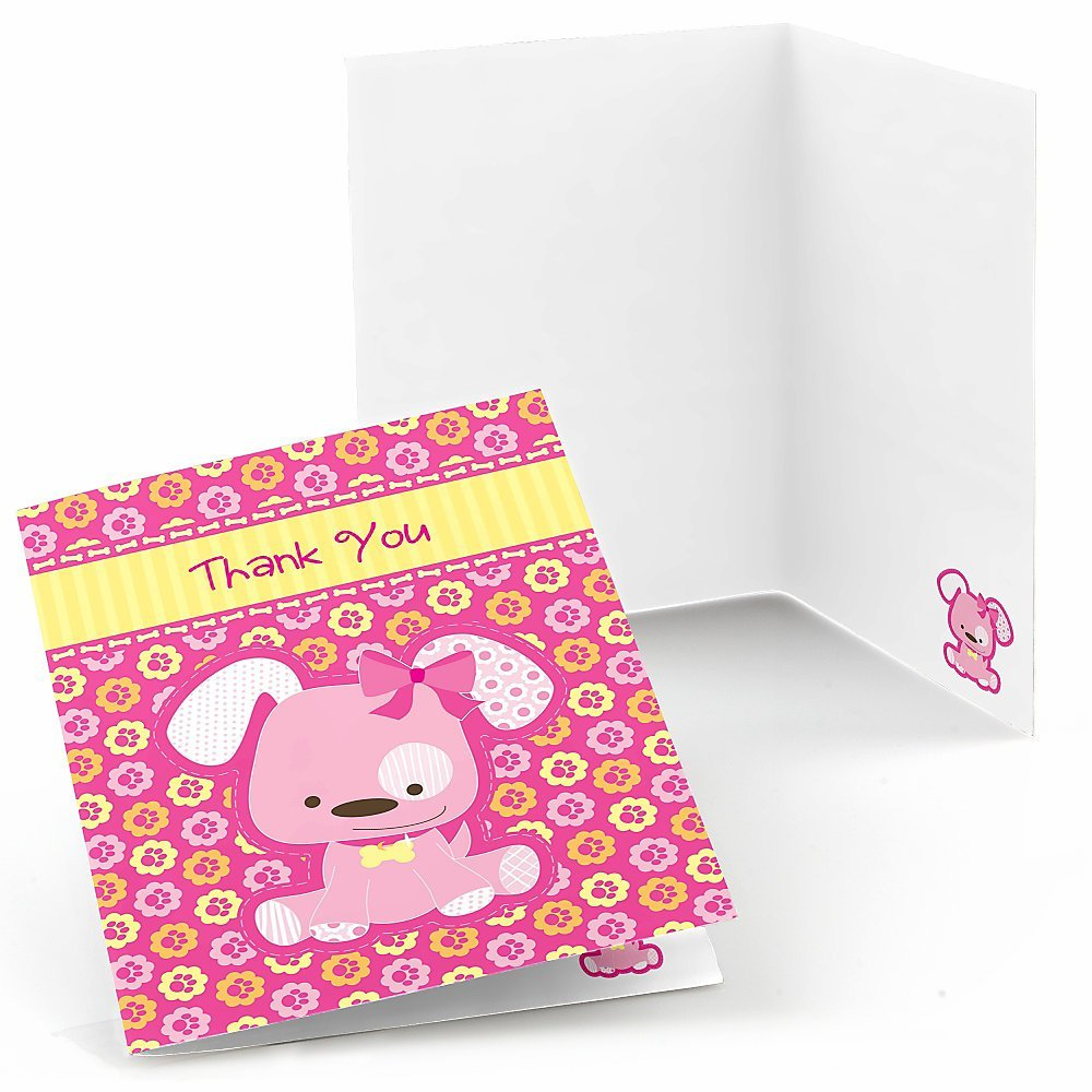Girl Puppy Dog - Baby Shower or Birthday Party Thank You Cards (8 count)