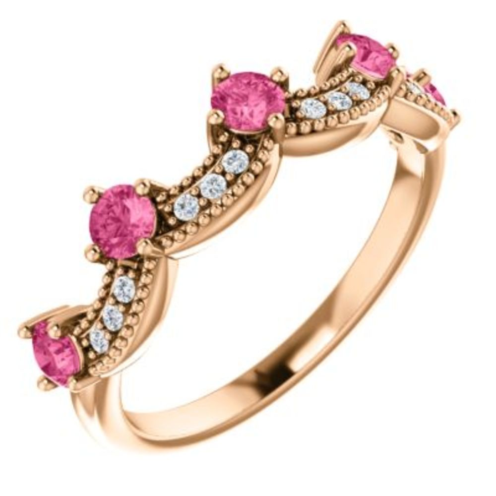 14K Rose Pink Tourmaline & .06 CTW Diamond Crown Ring Size 7 by Bonyak Jewelry