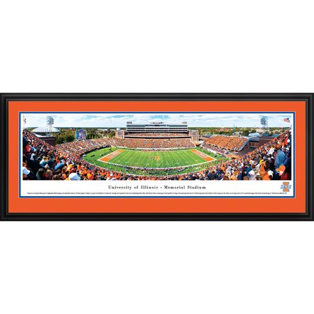 Illinois Football - 50 Yard Line at Memorial Stadium - Blakeway Panoramas NCAA College Print with Deluxe Frame and Double Mat