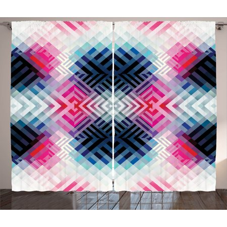 Abstract Decor Curtains 2 Panels Set, Fractal Lines with Diagonal Geometric Angled Repeating Pattern Artistic Display, Window Drapes for Living Room Bedroom, 108W X 90L Inches, Multi, by Ambesonne ()