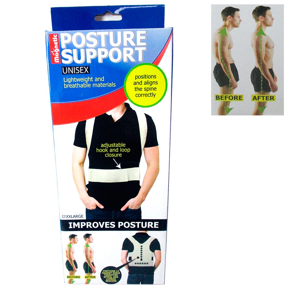 Magnetic Posture Corrector Support Brace Therapy Comfort Shoulder Back Relief XL
