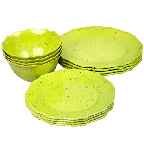 12pc Gibson Home Melamine Speckled Confetti Colored Plates & Bowls Dinnerware Dishes Set Green
