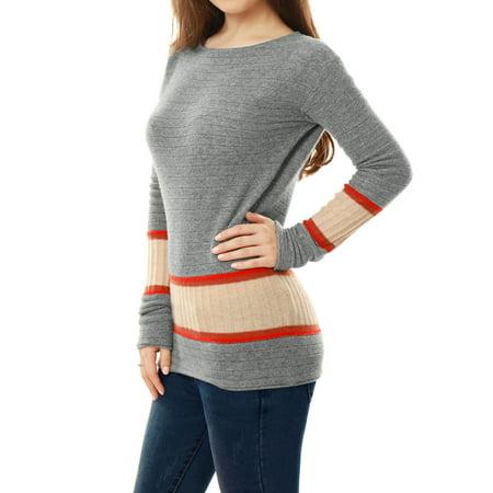 Unique Bargains Women's 100% Cashmere Jersey Contrast Rib Knit Boat Neck Sweater - image 4 de 6