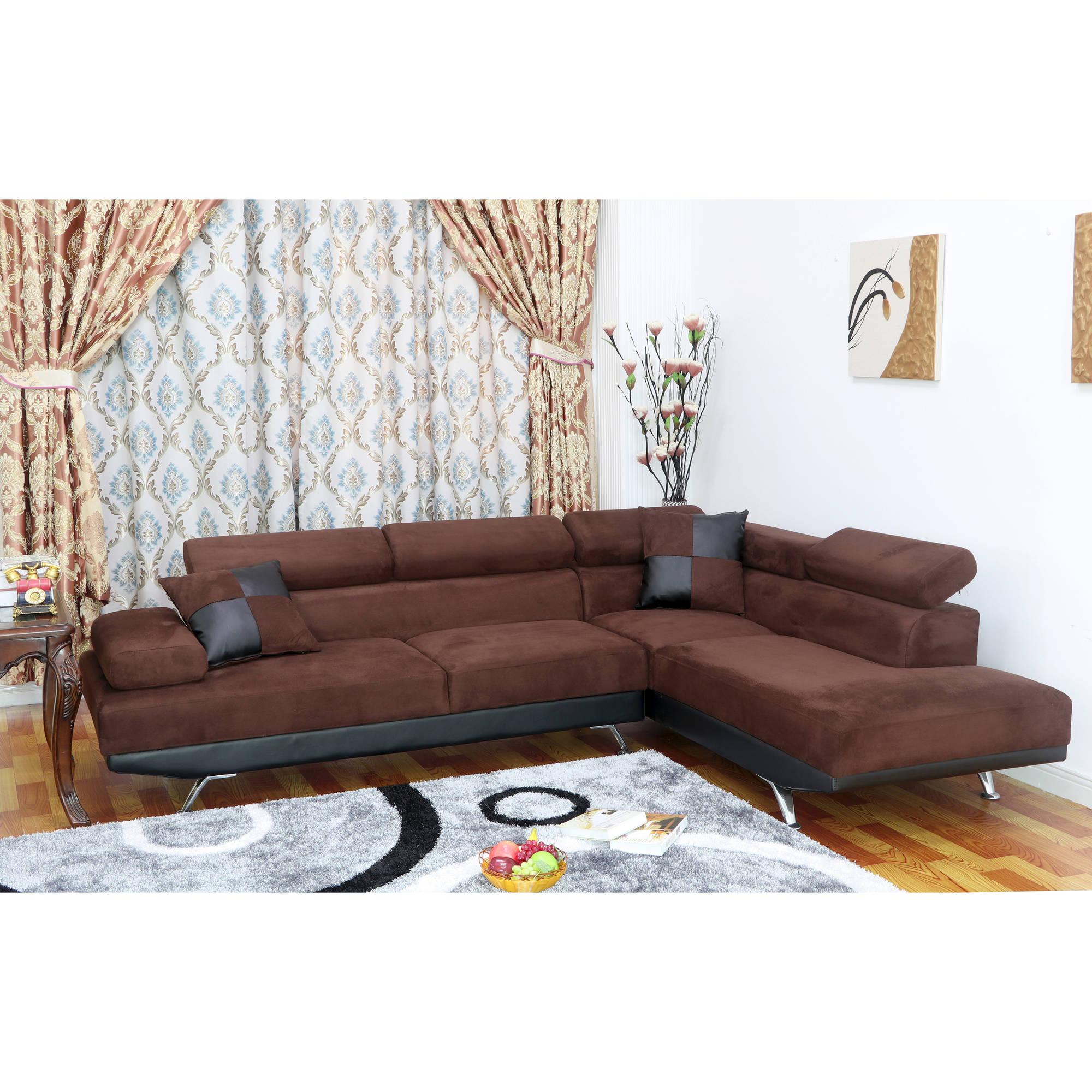 Ufe Sofia 2 Piece Microfiber Modern Right Facing Chaise Sectional Sofa Set Dark Brown