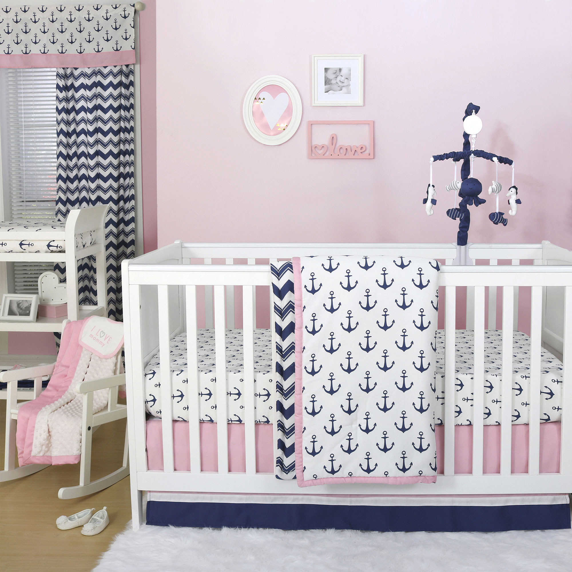 Sail Away Pink/Blue Nautical Anchor Crib Bedding - 20 Piece Nursery Essentials Set