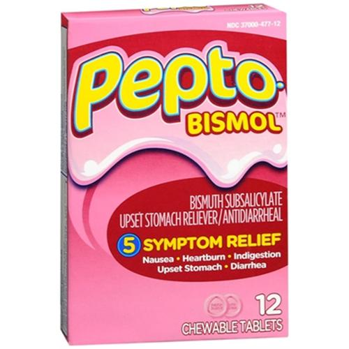 Pepto-Bismol Tablets Original 12 Each (Pack of 3)