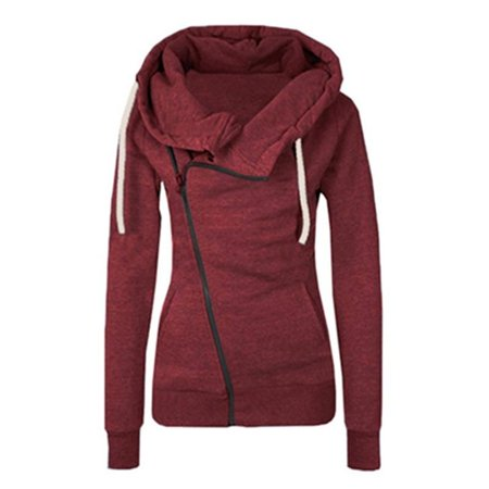 Womens Sports Hooded Pullover Sweatshirt Side Zip Cardigan Coat