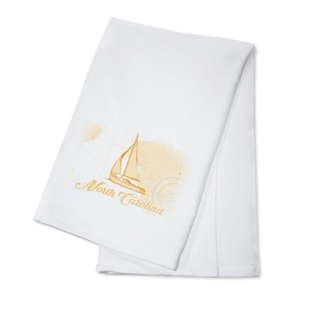 North Carolina - Sailboat - Yellow - Coastal Icon - Lantern Press Artwork (100% Cotton Kitchen Towel) ()