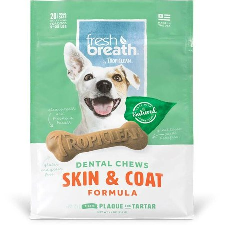 Natural Dog Chew Treats Healthy Fresh Breath Dental Bones Choose Size & Formula (Skin/Coat - Small 20ct)