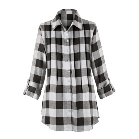 Women's Buffalo Plaid Design Pintuck Tunic Top with Roll-Tab Sleeves and Button Front, Medium, White/Black