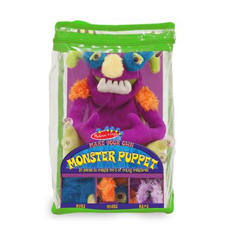 - Melissa & Doug Make-Your-Own Fuzzy Monster Puppet Kit With Carrying Case (30 pcs)