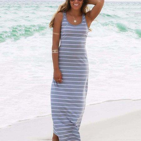 Curvy Jersey Scoop Neck Dress - Women Summer Dress Striped Boho Long Maxi Sleeveless Beach Vest Casual Slim Dresses For Sexy Ladies