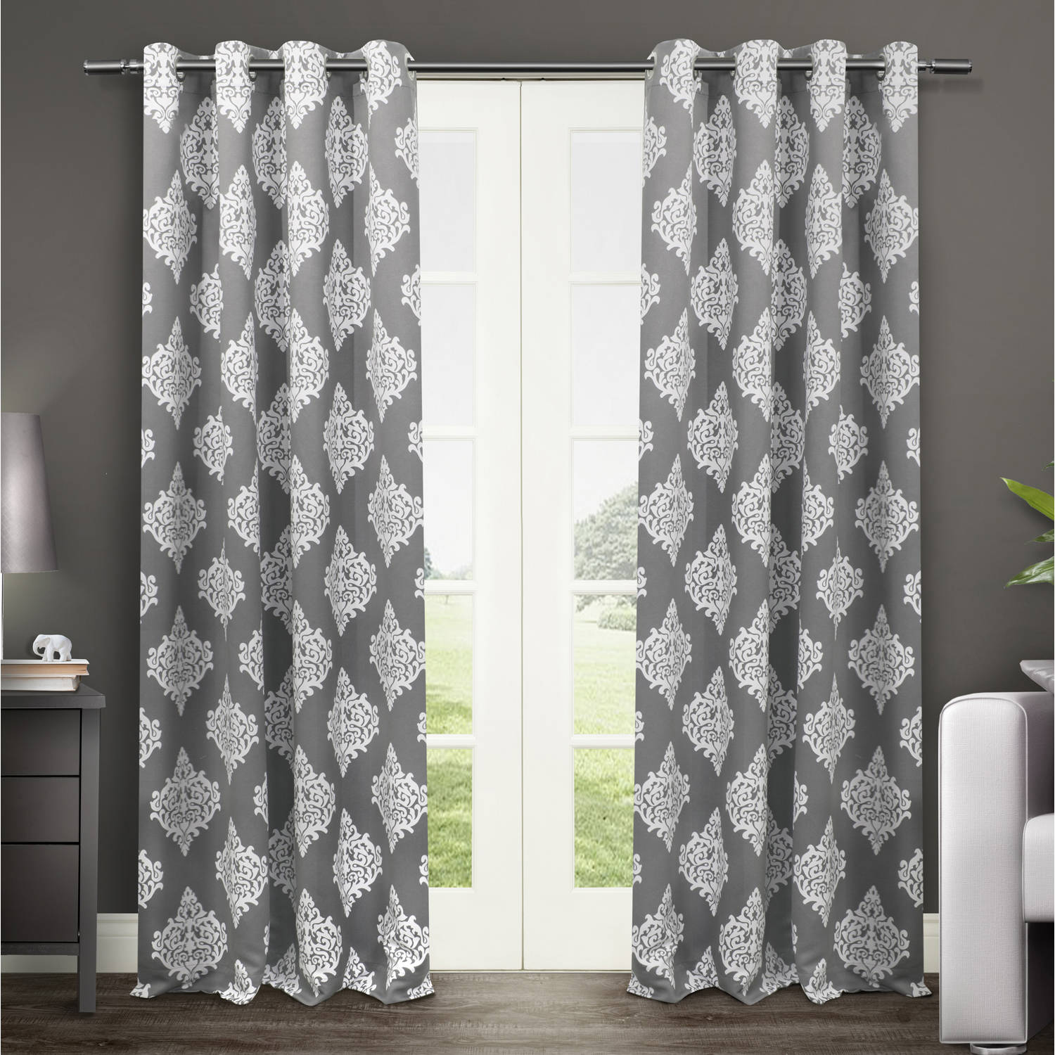 "Exclusive Home Medallion Blackout Thermal Grommet Top Window Curtain Panels, 52"" x 84"", Black Pearl, Set of 2"
