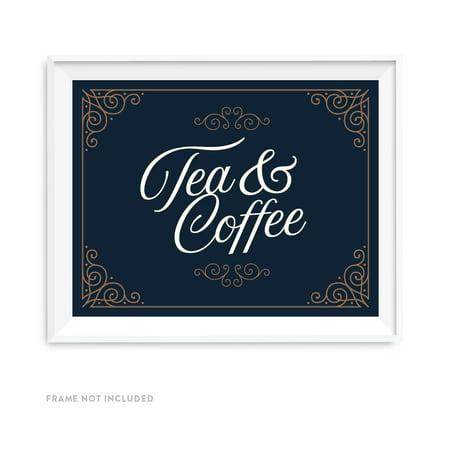 Navy Blue Art Deco Vintage Party Signs, Tea & Coffee Reception Dessert Table Sign, 8.5x11-inch Vintage Art Deco