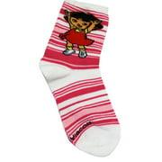 Dora the Explorer Pink/White Kids Ankle Socks (1 Pair, Size 5-6.5)