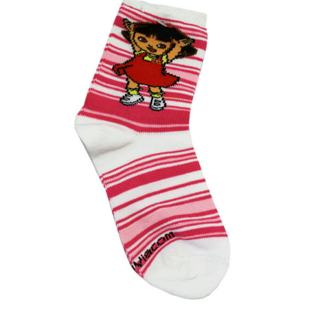 Dora the Explorer Pink/White Kids Ankle Socks (1 Pair, Size 5-6.5)