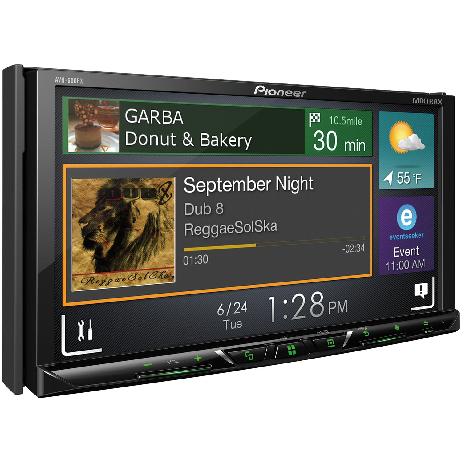 "Pioneer AVH-600EX 7"" Double-DIN In-Dash DVD Receiver with Bluetooth & SiriusXM Ready"